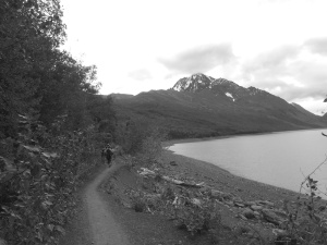 Running along Lake Eklutna